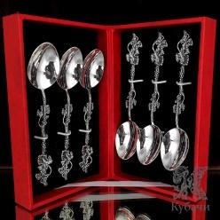 Набор из 6 ложек из серебра