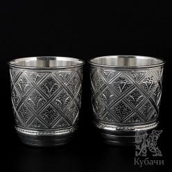 Пара стаканов из чистого серебра «Ромбические» 960 пробы (арт 9990152(н33/2))
